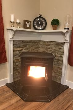 3 All Time Best Useful Tips: White Concrete Fireplace fireplace shelves ikea.Grey Stone Fireplace shiplap fireplace with sconces.Gas Fireplace With Stone. Corner Wood Stove, Stove Decor, Small Fireplace, Corner Gas Fireplace, Home, Farmhouse Fireplace, Pellet Stove, Wood Stove Decor, Corner Fireplace