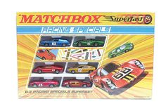 Matchbox Superfast Racing Specials Gift Set containing Lotus Europa, Lamborghini Marzel, Ford Group Dodge Charger, BMC Pininfarina, Porsche 910 Corgi Toys, Lamborghini, Matchbox Cars, Lotus, Diecast Model Cars, Old Toys, Display Case, Ford, Vintage Toys