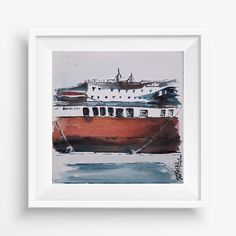Handmade Watercolor, cm, on aquarelle paper Easy to get on frame and modern style. Paper Ship, Watercolour Painting, Create Yourself, Etsy Seller, Creative, Illustration, Poster, Handmade, Hand Made