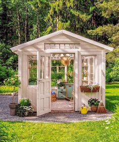 """""""Another cute greenhouse 😊 IG: vintageinteriorxx"""" Jacksonville Beach, She Sheds, Houseplants, Gazebo, Backyard, Outdoor Structures, Instagram, Home, Greenhouse Ideas"""
