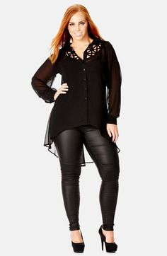 Free shipping and returns on City Chic 'Cross Hatch' Shirt (Plus Size) at Nordstrom.com. Lovely latticework adds skin-baring allure atop a sheer-woven shirt cut with a dramatic high/low hem.