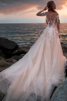 Champagne Tulle Wedding Dress with Illusion Lace Long Sleeves - - Kleider hochzeit - brautmode A Line Bridal Gowns, Bridal Dresses, Bridesmaid Dresses, Wedding Bridesmaids, Ceremony Dresses, Wedding Groom, Dream Wedding Dresses, Wedding Gowns, Wedding Venues