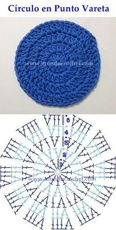 Como Tejer Un Circulo Perfecto A Crochet - Diy Crafts Crochet Motifs, Crochet Diagram, Crochet Stitches Patterns, Crochet Round, Crochet Chart, Crochet Squares, Knit Or Crochet, Crochet Designs, Knitting Patterns