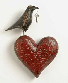 """Art featuring Heart, Key and Crow: """"Valentine, you already hold the key to my heart? I Love Heart, Good Heart, Key To My Heart, Happy Heart, Heart Art, Prince Charmant, Heart Crafts, Paperclay, Be My Valentine"""