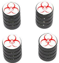 """Amazon.com : (4 Count) Cool and Custom """"Diamond Etching Red Biohazard Symbol Top with Easy Grip Texture"""" Tire Wheel Rim Air Valve Stem Dust Cap Seal Made of Genuine Anodized Aluminum Metal {Puma Bentley Black and White Colors - Hard Metal Internal Threads for Easy Application - Rust Proof - Fits For Most Cars, Trucks, SUV, RV, ATV, UTV, Motorcycle, Bicycles} : Sports & Outdoors"""