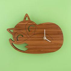 Bamboo Sleeping Fox Clock: Woodland Modern Nursery Decor. $56.00, via Etsy.