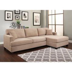 Shop for Abbyson Farrah Beige Fabric Sectional. Get free delivery at Overstock.com -  sc 1 st  Pinterest : shop sectionals - Sectionals, Sofas & Couches