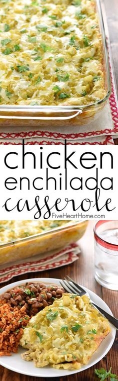 Chicken Enchilada Casserole ~ with all-natural ingredients like salsa verde, green chiles, and a creamy homemade sauce, this scrumptious stacked casserole recipe boast the great flavor of chicken enchiladas without the work of rolling them!   FiveHeartHome.com