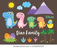 Cute dinosaur family, dinosaur baby, egg and footprint vector illustration. Dinosaur Illustration, Family Illustration, Cartoon Dinosaur, Cute Dinosaur, Projects For Kids, Crafts For Kids, Family Vector, Letters For Kids, Baby Dinosaurs