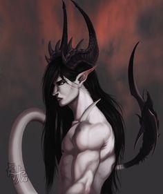 Sakki by EbonHorns. (fantasy art, male half demon with horns, pointed ears, tail)
