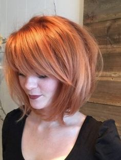 Light Copper Tousled Hairstyles with Bangs- Bob hairstles
