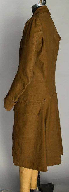 """Brown linen suit dyed w/ butternuts: 1 unlined jacket w/ self fabric buttons, 10 front & 2 back, 2 pockets w/ flaps, Ch 36"""", L 43""""; 1 pair matching breeches lined w/ natural linen, waist band laces CB, 6 brass knee buttons, W 30""""-32"""", Inseam 17"""", (knee bands' original buckles missing & replaced w/ buttons, scattered fade spots on coat & breeches) excellent. Provenance: Mason family, Bristol, CT."""