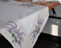 Lavanda bordado vainicas Drawnwork Table Runner