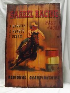 photos of cowgirl barrel racing paintings | ... Rustic-Decor-Cowgirl-Barrel-Racing-Wood-Plank-Picture-Hanging-Wall-Art