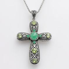 Sterling Silver Jade Cross Pendant ($360) ❤ liked on Polyvore featuring jewelry, pendants, green, cross jewelry, sterling silver jewellery, jade pendant, sterling silver cross charm and cross charm