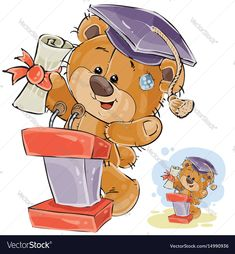 Vector illustration of a cheerful brown teddy bear in the graduation cap holding in his paws a university diploma and delivers a speech at the graduation ceremony. Print, template, design element. Download a Free Preview or High Quality Adobe Illustrator Ai, EPS, PDF and High Resolution JPEG versions.