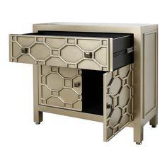 1 Drawer 2 Door Geometric Wood Cabinet, Gold