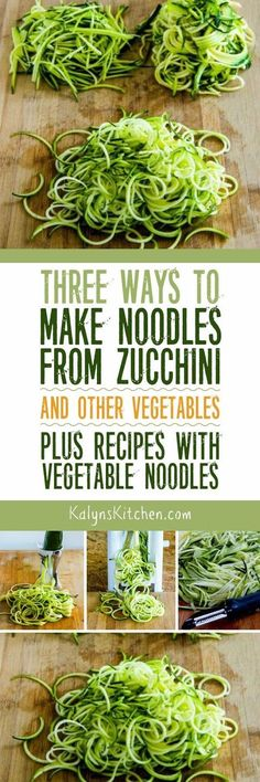 Vegetable noodles are a great way to satisfy that pasta craving with lower-carb options, and here are Three Ways to Make Noodles from Zucchini and Other Vegetables! The post also has links to all my favorite low-carb and gluten-free recipes with Zoodles and other Vegetable Noodles. [found on KalynsKitchen.com]: