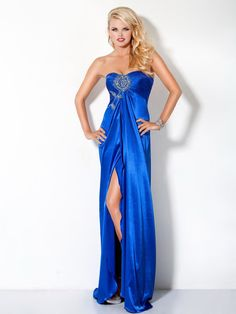 Blue Column Strapless Sweetheart Full Length High Slit Sweep Train Evening Dress With Beads