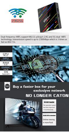 H96 Max Plus RK3328 4GB RAM 64GB ROM Android 8.1 USB3.0 5G WIFI TV Box Support HD Netflix 4K Youtube - EU 4gb Ram, Photography Camera, Card Reader, Wifi, Netflix, Android, Tv, Youtube, Electronics