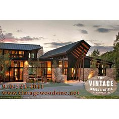 #wood #steel #timbers & #flooring. @vintagewoodsinc can provide all of these to your next project. Call 970-524-4041 or visit www.vintagewoodsinc.net to see more. #kimberlygavinphotography #exterior #custombuilt #architecture #luxuryhomes #beetlekill