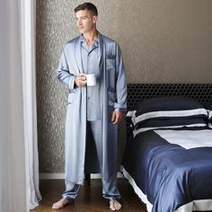 Gingerlily Men's Silk Dressing Gown - Grey at Amara