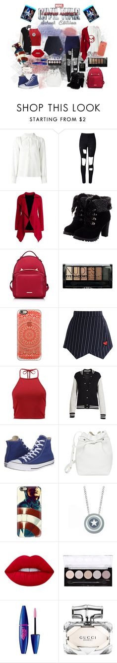 """""""Captain American Civl War (School Edition)"""" by micaj on Polyvore featuring See by Chloé, WithChic, Boohoo, Casetify, Chicwish, Marc Jacobs, Converse, Mansur Gavriel, Marvel and Lime Crime"""