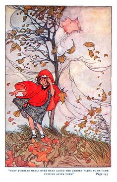 They tumbled heels over head along the garden paths as he came puffing after them - The Garden of Heart's Delight, A Fairy Tale by Ida Huntington, 1911