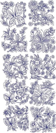 9a86392c5 Advanced Embroidery Designs - Butterflies and Flowers Quilt Block Set  Embroidery Needles, Diy Embroidery,
