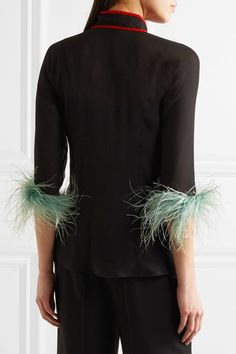 Prada - Feather-trimmed Silk-chiffon Blouse - Black - IT40
