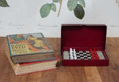 Vintage Travelling Chess Set, Staunton Pattern, Made in England, Good Condition, Vintage games,Retro,Boho. Collectable. Gents gifts. by Route46Vintage on Etsy