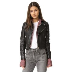 DSQUARED2 Leather Sports Jacket ($2,715) ❤ liked on Polyvore featuring outerwear, jackets, quilted jacket, fleece-lined jackets, lined leather jacket, quilted moto jacket and genuine leather jackets