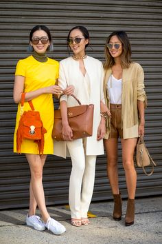 Irene Kim (left), Chriselle Lim in Westward Leaning sunglasses, and Aimee Song (right)   - HarpersBAZAAR.com