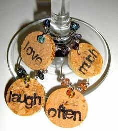 Make a Wine Cork Table Top | Cut the corks into small discs to create wine glass labels. Use small ...