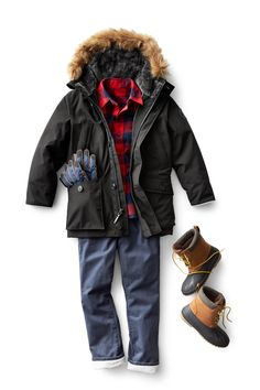 Browse these cool new boys' outfits. Complete with handsome parkas and classic styles. They are perfect for Fall and ready to keep your son warm all day. Shop now.