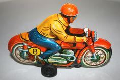 Toys & Hobbies Tn Nomura 1960s Tin Friction Racing Motorcycle Vintage Capable Rare Nos Modern Toys