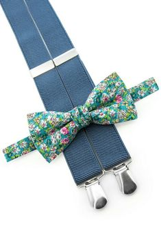 Light blue flowers bow tie and denim suspenders! Beautiful outfit for page boy and groomsmen! Drop in to our store! For you we offer special 10% discount with coupon code PIN10  #ringbearer #wedding #floral #bowtie  #suspenders #cutietie