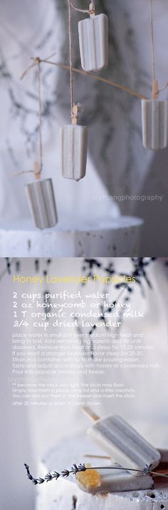 Honey Lavender Popsicles -- perfect for Summer!