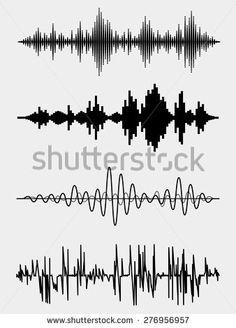fale dźwiękowe Vector set. Technologia dźwięku korektor muzyczny impulsu. ilustracji wektorowych
