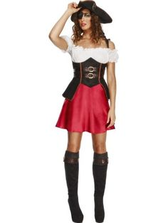Fever Pirates Treasure Captain Babe Glamour Womens Ladies Fancy Dress Costume