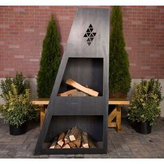 Made from solid 12 gauge heavy duty steel that will last for years and years without any maintenance. Truly a one of a kind works of art and te Natural Gas Outdoor Fireplace, Outdoor Fireplaces, Patio Gazebo, Backyard, Stone Veneer Exterior, Cal Flame, Fireplace Tools, Metal Fireplace, Freestanding Fireplace