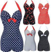 Wish | Hot Women One Piece Bathing Suit Vintage Dotted Beachwear Push up Swimsuit Plus Size Swimwear Monokini M-3XL