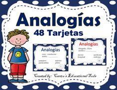 Analogias:  Este producto consiste de 48 tarjetas divididas en 2 grupos de 24.  Un grupo es color azul y el otro color rojo.  Las tarjetas pueden ser usadas en parejas, grupo o individualmente.Incluye:48 tarjetas de opcion multiple*Set azul (24 tarjetas)*Set rojo (24 tarjetas)Clave de respuestasPagina para anotar respuestasGracias por comprar mi producto,Cantu's Educational Tools