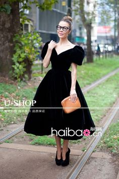 New Fashion 2014 High Quality Women's Elegant Puffy Cap sleeve Noble Solidy Velvet Ball Gown Tea Length Evening Dresses
