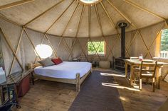 Notre Yourte Yurta - Beauté et sérénité - Terra Perma Glamping, Modern Wood Burning Stoves, Yurt Interior, Yurt Tent, Yurt Home, Bungalow, Recycled House, Tiny House Blog, Home Greenhouse