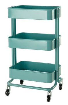 """vintage-style-kitchen-cart-raskog """"From Ikea - Cute little vintage style Raskog kitchen storage carts, in a couple of colors.    Read more: Storage shelves -- 24 colorful metal shelves and storage solutions — Retro Renovation"""""""