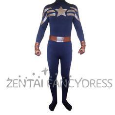 Hot Sale 2014 Captain America Lycra Spandex Zentai Suit Superhero Fancy Dress outfit