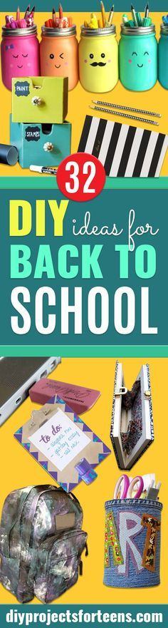 DIY School Supplies You Need For Back To School - Cuter, Cool and Easy Projects for Teens, Tweens and Kids to Make for Middle School and High School. Fun Ideas for Backpacks, Pencils, Notebooks, Organizers, Binders. Popular Pins for Teens, Tweens and Teenagers http://diyprojectsforteens.com/diy-school-supplies