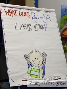 A day in first grade: Ready or not. Back to school routines and lessons one teacher uses. Daily 5 ideas- Can be used for all grades. Daily 5 Kindergarten, Kindergarten Anchor Charts, Reading Anchor Charts, Daily 5 Reading, Teaching Reading, Guided Reading, Teaching Ideas, Teaching Tools, Reading Groups