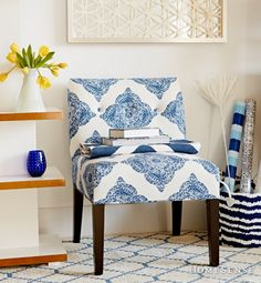 Great splash of color in a chair. Gotta find one. Homesense, Armless Chair, Florida Home, Color Splash, Master Bedroom, Accent Chairs, Sweet Home, Blue And White, Flooring